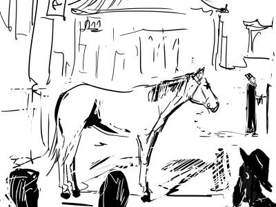 Stary mistrz i koń